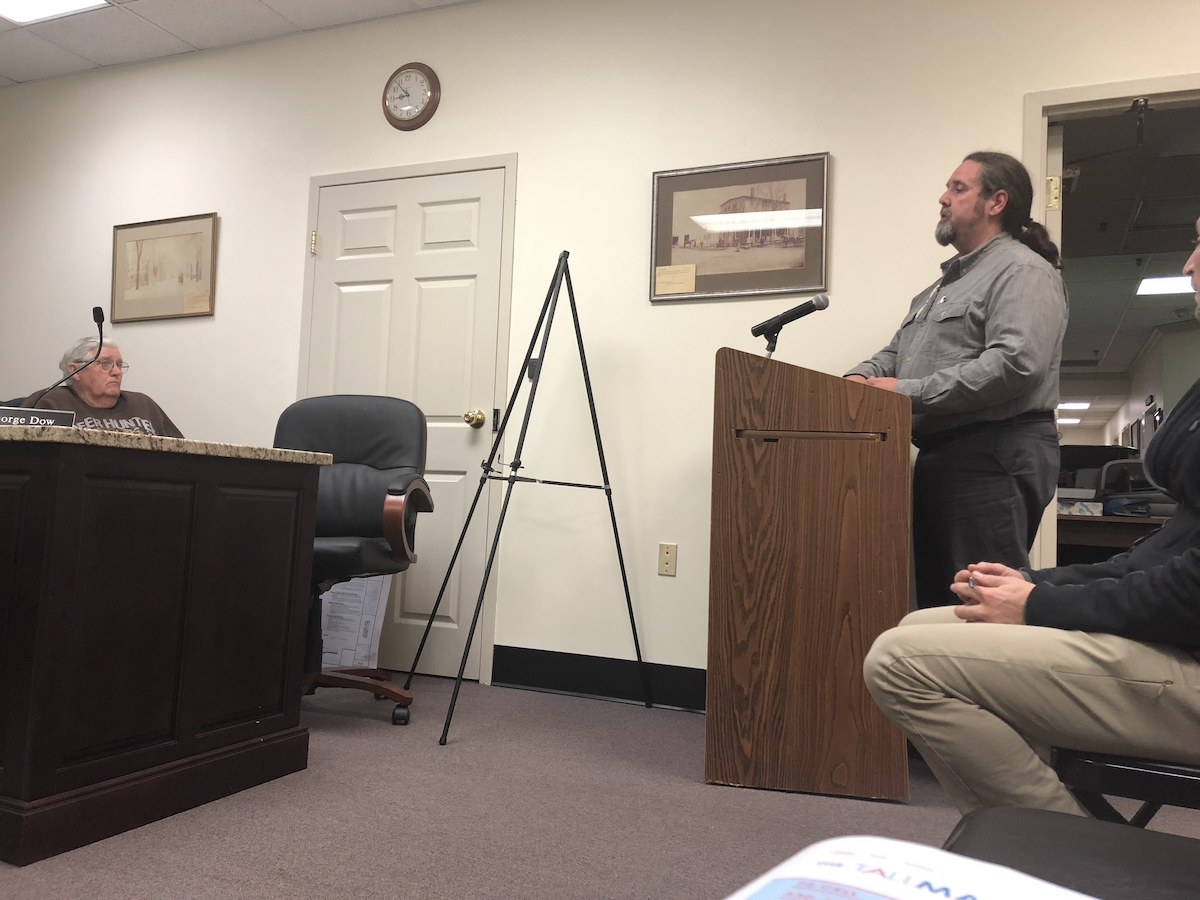 Bill Melanson talks in the Seabrook Planning Board on 11/13/2018